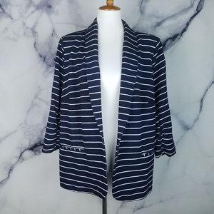 CJ Banks Blazer Blue White Stripe Jacket Chic